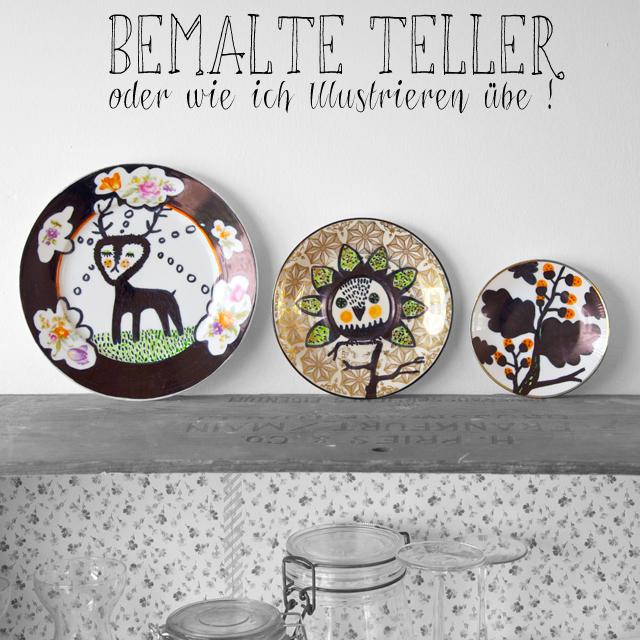 Bemalte Teller oder wie ich Illustrieren übe