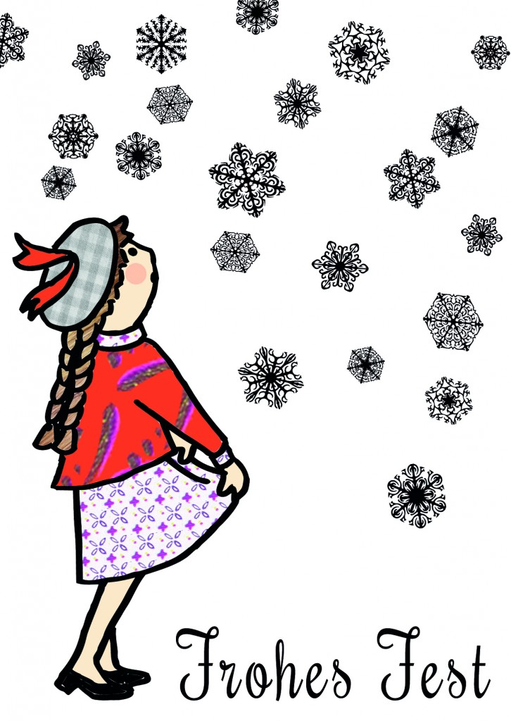 Weihnachtskarte Sterntaler schneeflocken