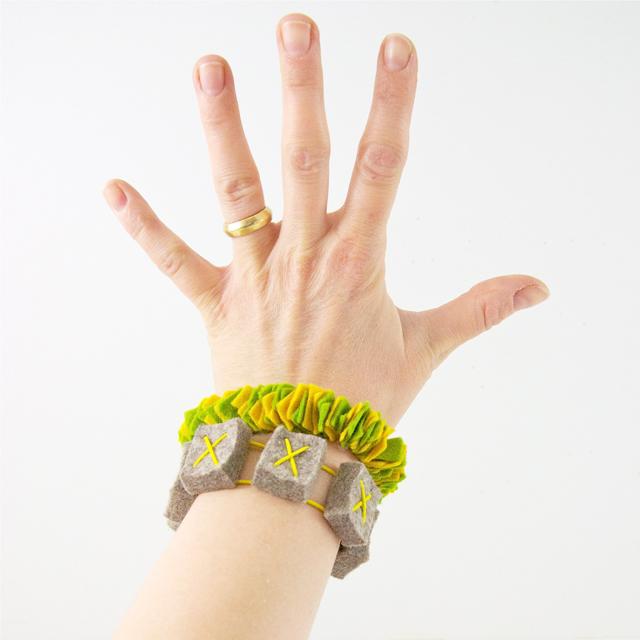 gelb:gruen Filzarmband