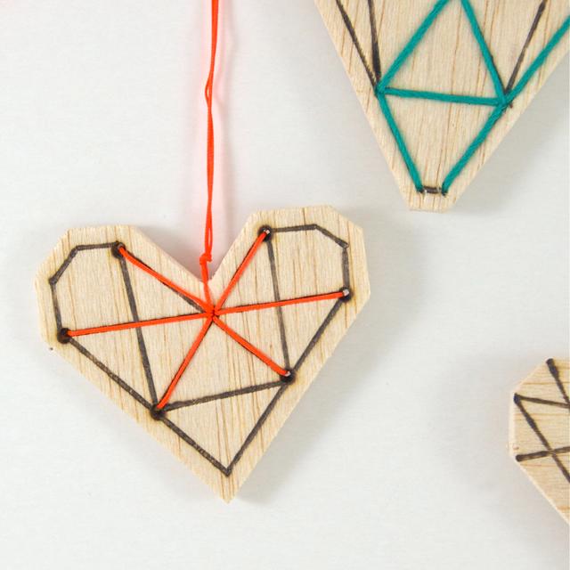 geometrische Herzen close