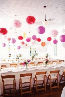 tissue paper pom poms with chinese lanterns