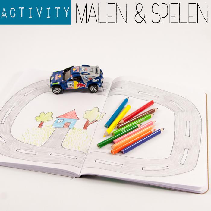 Anleitung für ein Activity-Spiel: Zeichne eine Straße in ein Malheft und nutze diese für deine Mini-Spielzeugautos. Perfekt für lange Autofahrten. Ein Tutorial von johannarundel.de