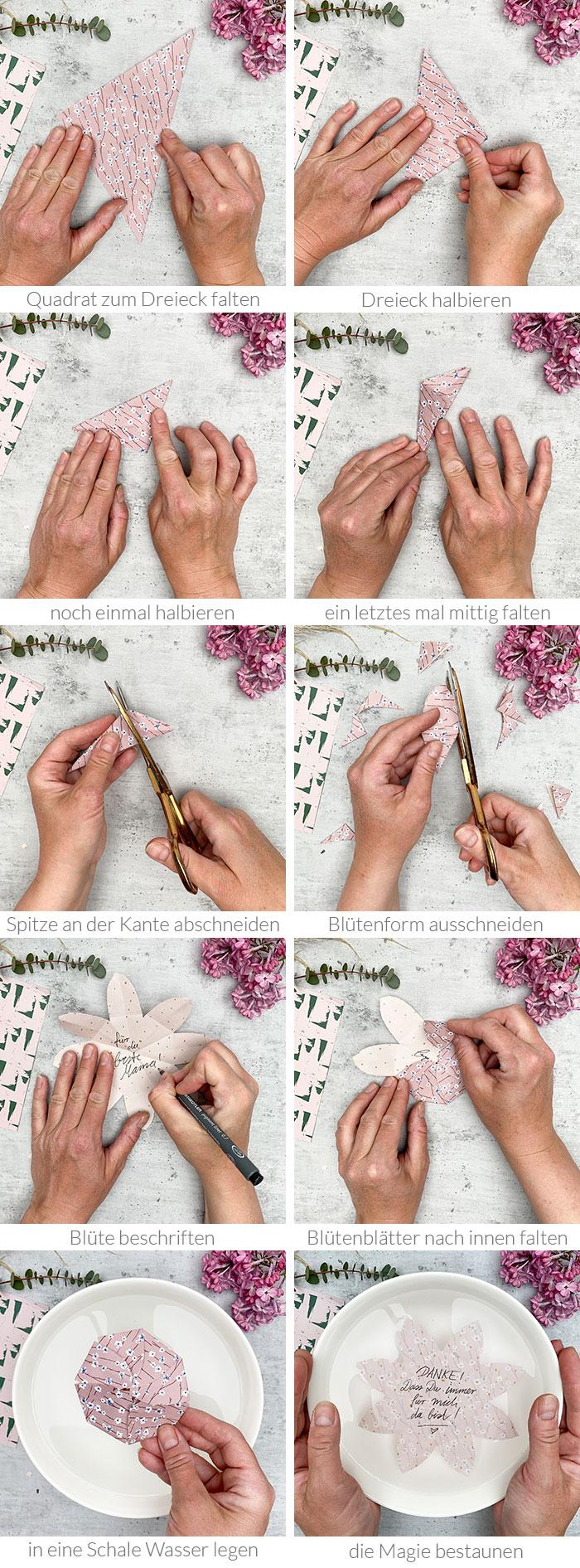 Blumen zum Muttertag sind ja ein Klassiker. Aber eine DIY-Wunderblume hat deine Mama bestimmt noch nie bekommen! Die Papierblüten sind superschnell gebastelt und mit einem persönlichen Gruß oder einem Dankeschön prima zum Verschenken oder Verschicken. Wird das Papier in eine Schale mit Wasser gelegt, entfaltet sich das kleine Wunder! Anleitung auf johannarundel.de