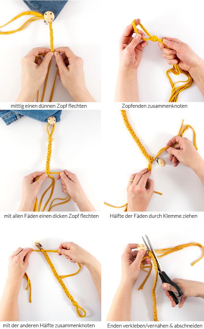 Dieses super schnelle DIY Schnullerband ist ein prima Geschenk für Babys oder werdende Eltern. Es ist ganz einfach selbst gemacht und sieht toll aus! Ein Tutorial von johannarundel.de