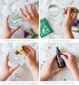 Mmmh – wie das duftet! Mixe dir in wenigen Schritten dein eigenes Textilspray. Dafür brauchst du nur vier Zutaten! Anleitung auf johannarundel.de