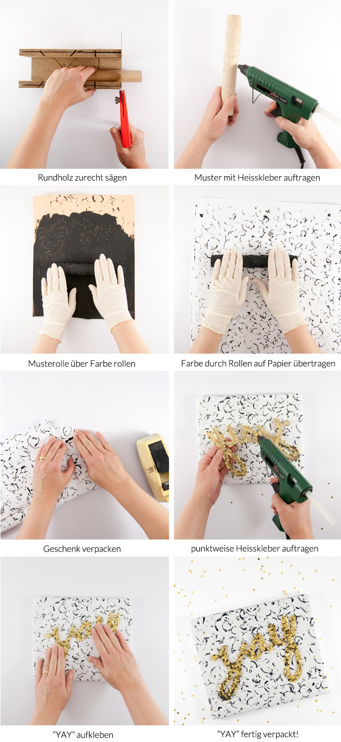 DIY Geschenkverpackung mit Heißkleber! Blitzschnell selbst bedrucktes schwarz/weisses Geschenkpapier und ein Glitzerschriftzug machen aus jedem Präsent einen richtigen Hingucker. Ein DIY von johannarundel.de