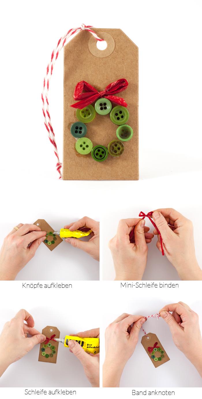 Anleitung für weihnachtliche DIY Geschenkanhänger aus Knöpfen