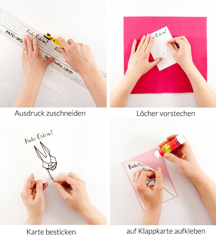 Eine DIY Osterhasenkarte mit kostenlosem PDF zum Download. Nur Sticken musst du noch selbst! Ein Tutorial von johannarundel.de