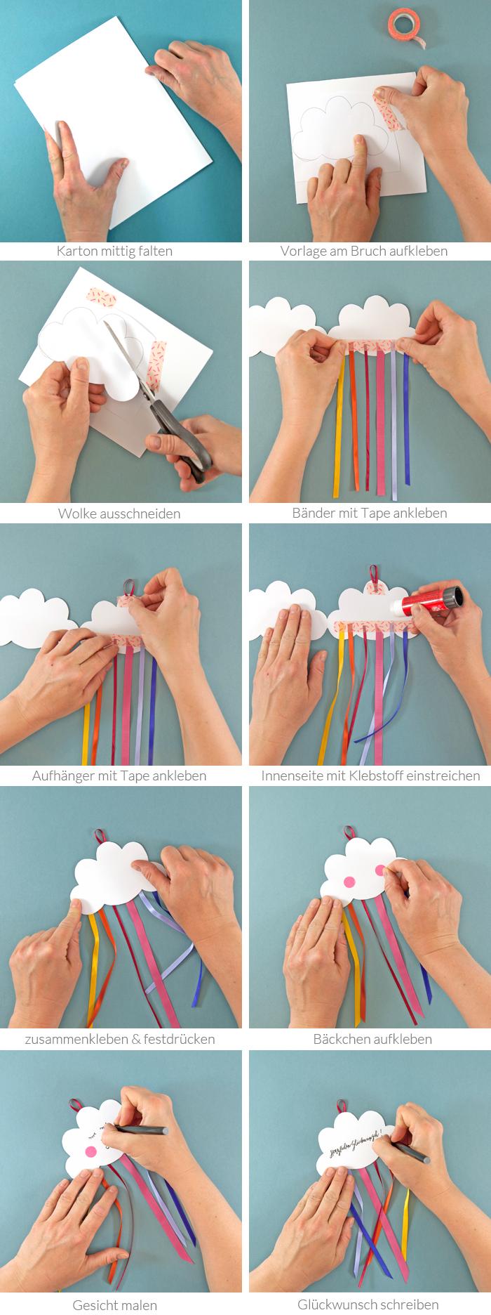 Mit dieser DIY Grußkarte in Wolkenform verschickst du süße Grüße, die der Empfänger sogar als Mobilé aufhängen kann! perfekt für Geburtstagsglückwünsche oder zur Geburt. Ein Tutorial von johannarundel.de