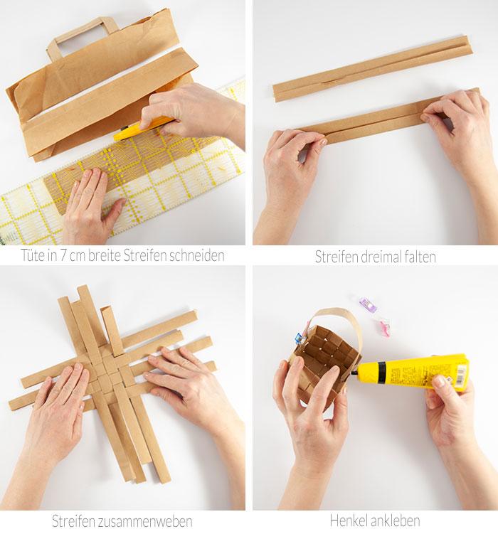 Mit meiner Schritt-für-Schritt Anleitung kannst du aus einer Papier-Einkaufstüte ein süßes DIY Osterkörbchen basteln.