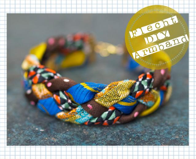 Geflochtenes Armband aus alten Krawatten
