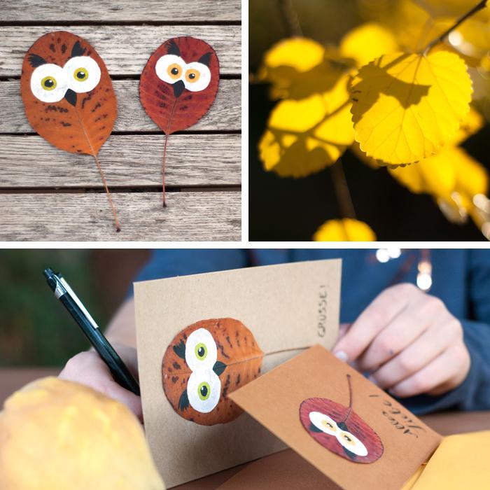 Herbstliche DIY Eulen-Grußkarten aus bunten, getrockneten und dann bemalten Blättern. Ein DIY von johannarundel.de