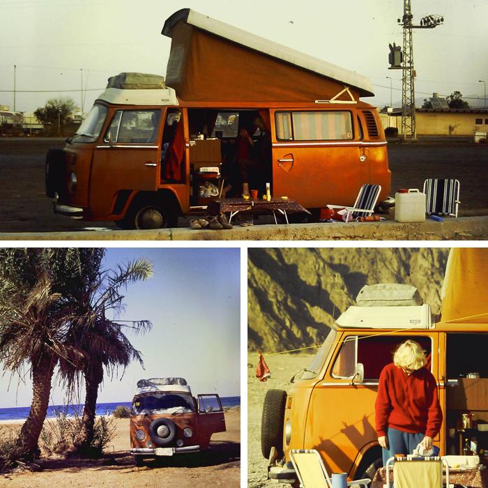 Ein 1973er, knallorange farbener VW-Bulli auf großer Fahrt nach Israel im Jahr 1988.