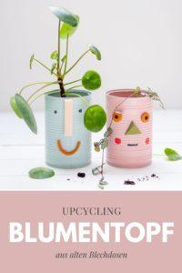 Aus einer leeren Konservendose, Modelliermasse und etwas Farbe kannst du schnell und einfach lustige DIY-Blumenübertöpfe mit Gesicht basteln. Zusammen mit einem Pflanzen-Ableger hast du so ein nachhaltiges und kostengünstiges Upcycling-Geschenk. Tutorial auf johannarundel.de