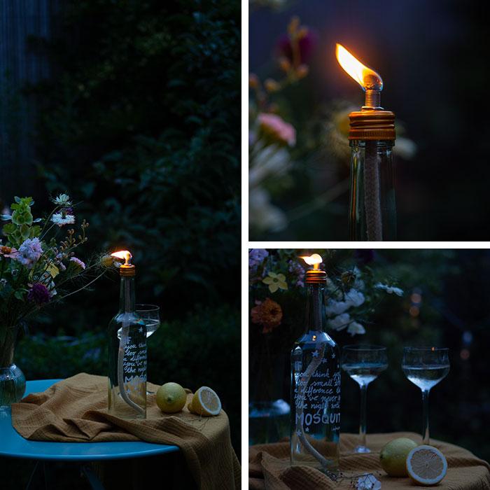 Ich liebe die lauen Sommerabende, an denen man bis spät draußen sitzt. Mit dem oder der Liebsten, romantischem Feuerschein und einem guten Weißwein. Was ich allerdings gar nicht liebe, sind die Mücken, die auch immer dabei sein wollen. Deshalb habe aus einer leeren Barefoot-Weinflasche eine DIY-Anti-Mücken-Gartenfackel gebastelt. Zusammen mit einer Flasche kühlem Wein kommt sie dann bei unserem nächsten Garten-Date zum Einsatz.