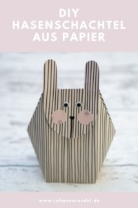 Diese süße DIY Hasenschachtel aus Papier ist mit der PDF-Vorlage zum kostenlosen Download schnell gebastelt. Die Ostertüte ist perfekt für kleine Geschenke, Süßigkeiten oder als Ersatz fürs Osternest. Tutorial auf johannarundel.de