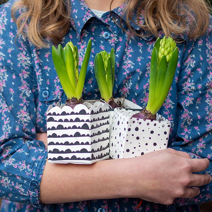 Hast du den Winter auch schon so satt? Kalt, nass und vor allem so grau. Deshalb habe ich mir jetzt schon mal ein paar bunte Frühlingsblüher ins Haus geholt und den Hyazinthen gleich noch ein paar Blumentöpfe aus leeren Tetrapaks upcycelt. Das geht superschnell und sieht toll aus. Komm, ich zeig es dir!