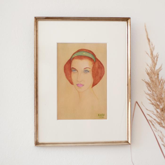 Flohmarktfunde: gemaltes Bild Damenkopf, 50er Jahre