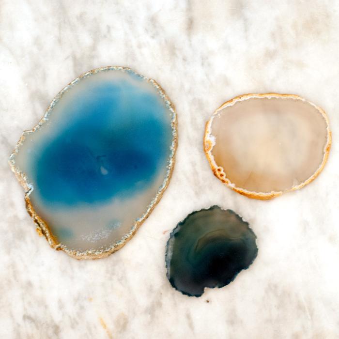 Achatscheiben blau, beige, petrol