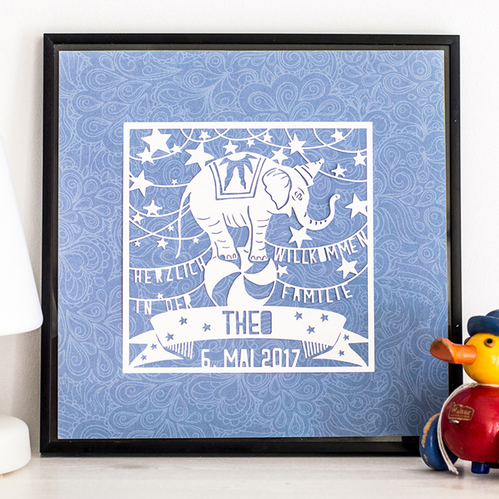 Papercut Elefant Happy Serendipity Design
