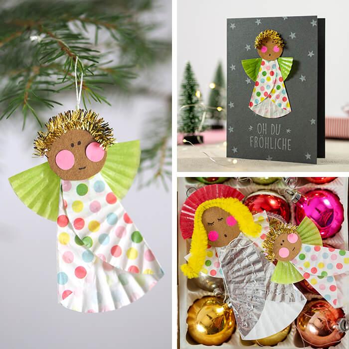 Niedliche DIY Papier-Muffinform-Engel als Weihnachtskarte oder Christbaumschmuck