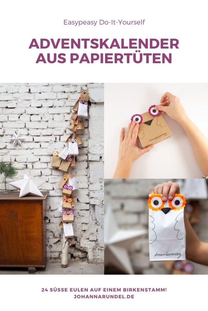 Diesen supersüßen DIY Eulen-Adventskalender aus Papiertüten kriegst du auch noch auf den allerletzten Drücker fertig. Die runden Augen werden einfach ausgestanzt, der Schnabel mit Washitape geklebt. Alle Tüten an einen Birkenstamm tackern oder an einen Zweig hängen –und fertig ist der Do-It-Yourself-Adventskalender.
