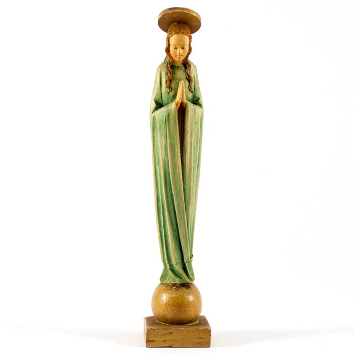 Flohmarktfund: Stehende schmale Madonna aus Holz