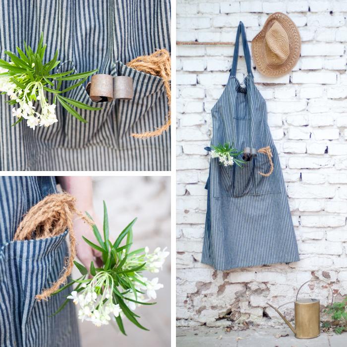 Diese rustikale DIY-Schürze eignet sich mit ihren großen Taschen wunderbar für die Gartenarbeit oder als Grillschürze. Mit meinem Schnittmuster zum kostenlosen Download kannst du sofort mit dem Nähen loslegen.