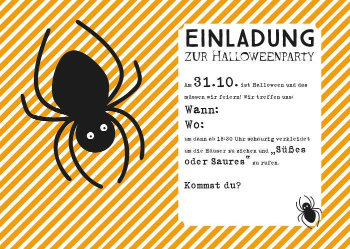 Last Minute DIY Halloween-Party-Einladung zum kostenlosen Download