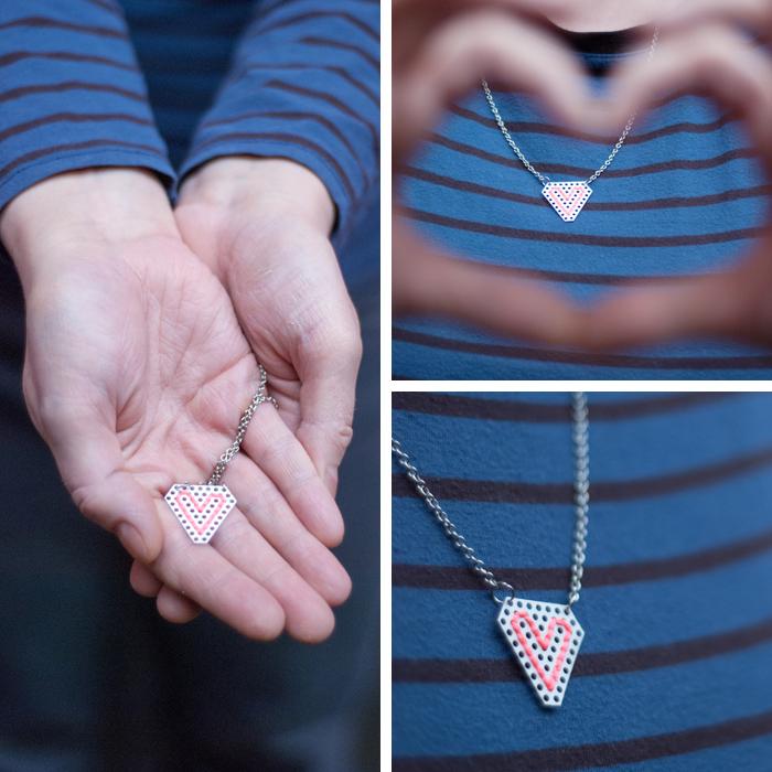 Ein DIY mit Herz - deshalb passt es ganz wunderbar zum Valentinstag. Eine Kette mit einem bestickten Metallanhänger. Ein Tutorial von johannarundel.de