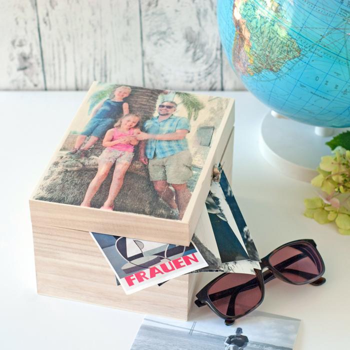 Holzkiste mit Foto in Lavendeldruck