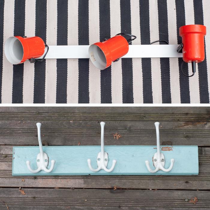 Flohmarkt Freitag - wunderbare Trödelmarkt - Funde auf johannarundel.de. Diesmal mit: einer Lampenleiste in orange und einer türkisfarbenen Hakenleiste mit weissen Emaille Haken