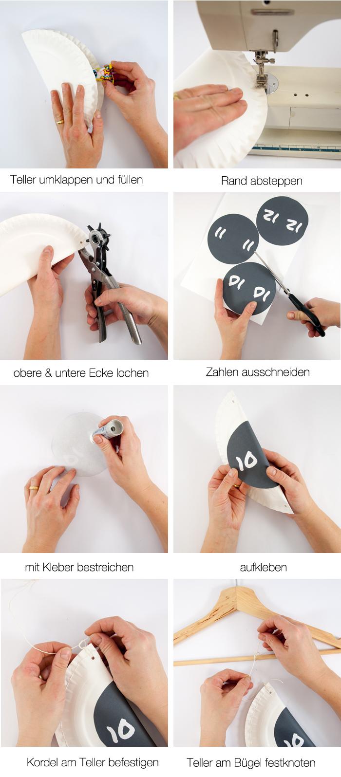 Ein DIY Adventskalender aus weissen Papptellern. Schnell gemacht und sehr dekorativ. Mit Zahlen zum kostenlosen Download. Ein DIY-Tutorial von www.johannarundel.de