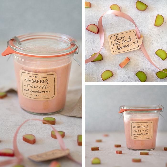 Rhabarber-Curd ohne Ei ist ganz schnell gemacht, schmeckt lecker und ist mit seiner rosa Farbe das perfekte Geschenk zum Muttertag. Rezept auf johannarundel.de