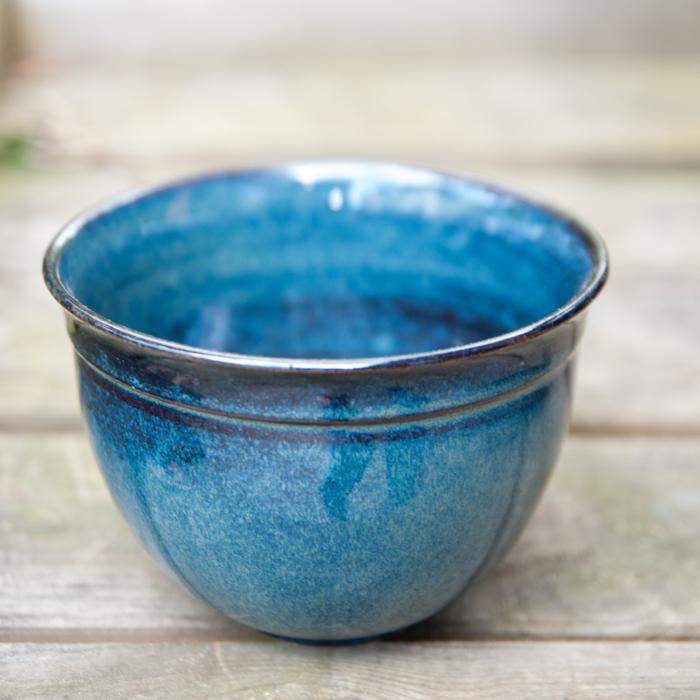 Flohmarktfund: Handgetöpferte, blaue Müslischale