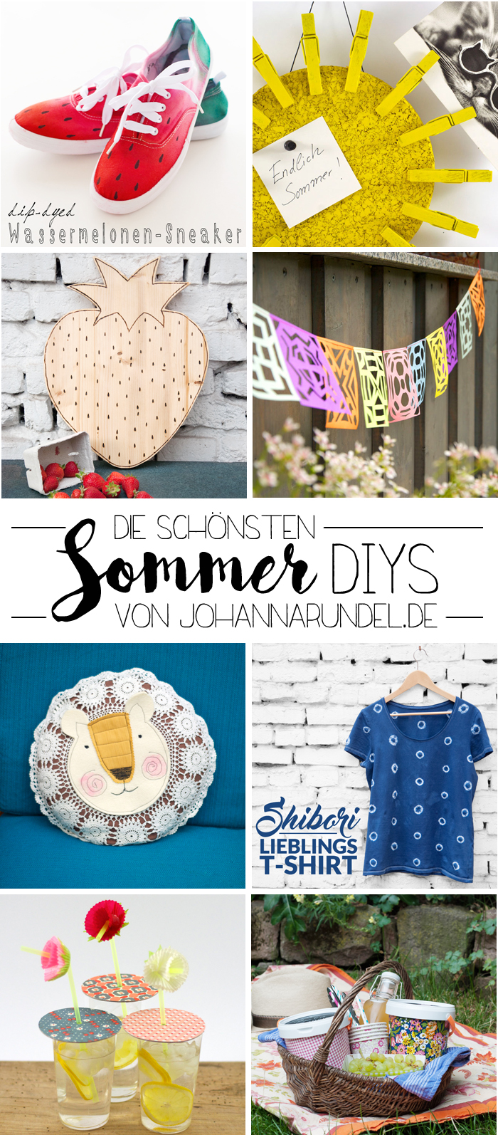 Die schönsten Sommer-DIYs von johannarundel.de. Ob Upcycling, Partygirlande oder Shibori-T-Shirt hier zeige ich dir meine schönsten Tutorials für den Sommer