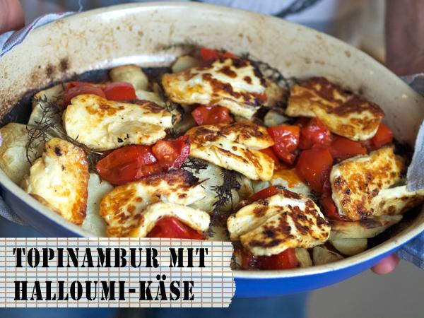 Gebackener Topinambur mit gebratenen Tomaten und Halloumi-Käse