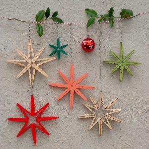 Heute zeige ich dir eine ganz schnelle und einfache DIY Weihnachtsdeko aus Holzwäscheklammern. Die hübschen Sterne oder Schneeflocken sehen als schlichte Wanddekoration oder als Hänger an der Haustür prima aus. Sie können aber auch als Topfuntersetzer verwendet werden und geben ein schönes Weihnachtsgeschenk ab!